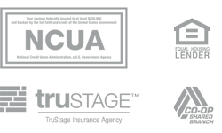 NCUA Logo, Equal Housing Lender Logo, Trustage Logo, and Co-Op Shared Branch Logo